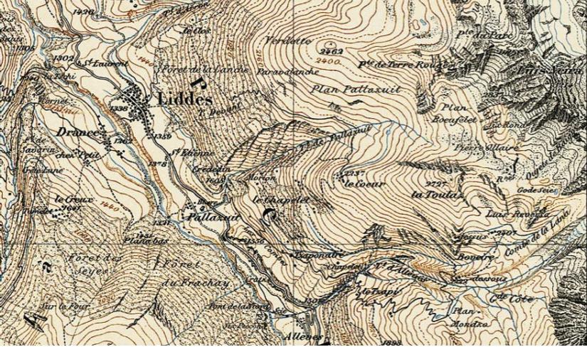 Liddes, Mur (dit) d'Hannibal, extrait de l'Atlas Siegfried, feuille TA529, Orsières, 1878, mention « Rnes » et ligne brisée, échelle 1:50'000.