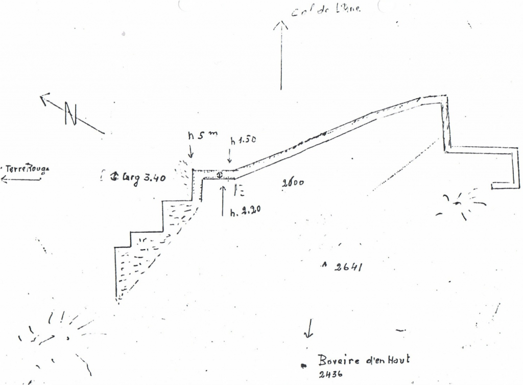 Figure 1, Liddes, Mur (dit) d'Hannibal, plan du site, échelle 1:1'000, LATTION 1983 p. 6