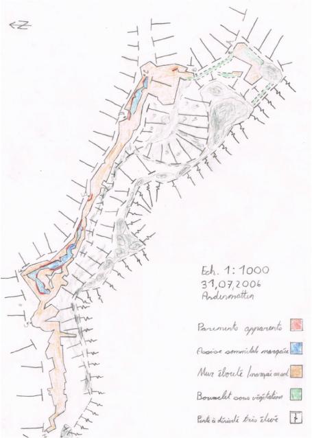 Liddes, Mur (dit) d'Hannibal, relevé à la boussole et au mètre à ruban du site, échelle 1:1'000, Andenmatten 2006