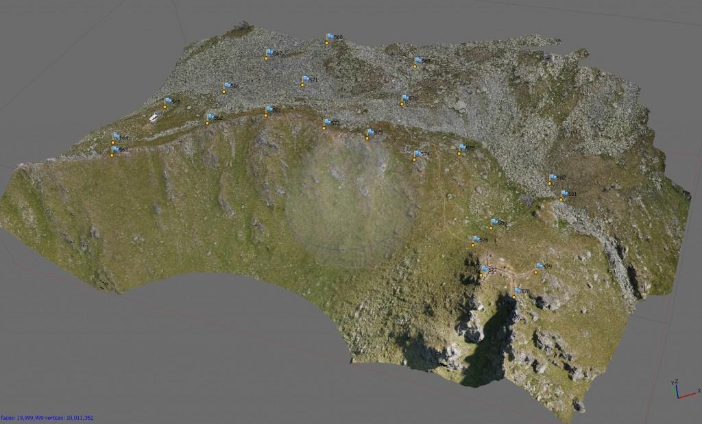 Vue générale du modèle 3D général du Mur (dit) d'Hannibal d'après le relevé drone 2015 (Archéotech SA).