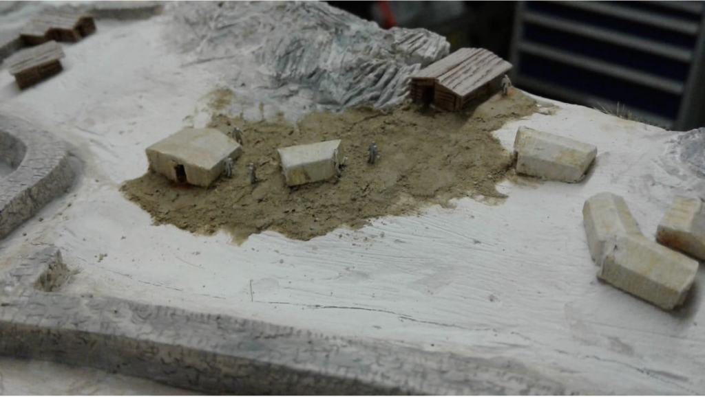 Détail de la maquette du site du Mur (dit) d'Hannibal en cours de réalisation (© RAMHA 2020).